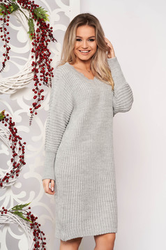 Grey dress casual midi straight knitted fabric with v-neckline long sleeved