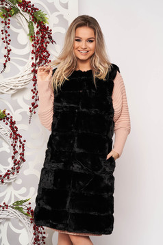 Gilet black elegant from ecological fur with pockets with inside lining sleeveless