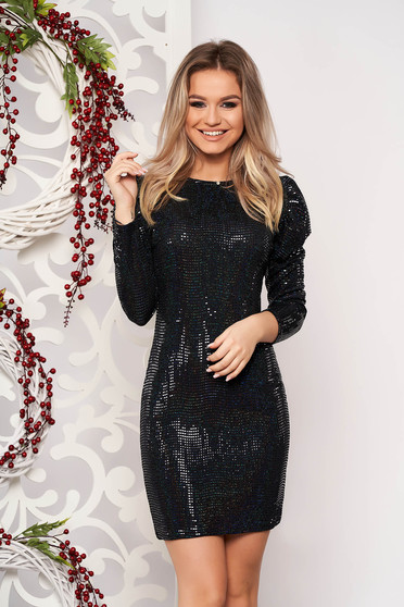 Black dress occasional short cut pencil with sequin embellished details with 3/4 sleeves from elastic fabric
