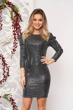 Silver dress occasional short cut pencil with sequin embellished details with 3/4 sleeves from elastic fabric