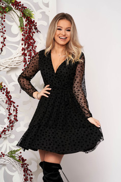 Dress black elegant short cut cloche from veil fabric dots print with push-up cups with v-neckline accessorized with tied waistband