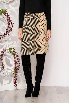 Skirt StarShinerS cream flaring cut with geometrical print slightly elastic fabric pressure-free border