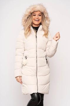Cream jacket casual midi from slicker with pockets zipper fastening detachable hood