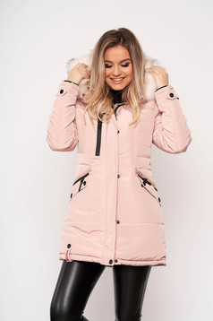 Lightpink jacket casual midi from slicker with pockets detachable hood with furry hood