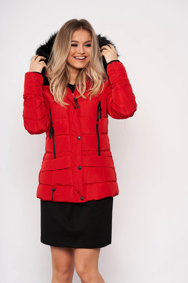 Red jacket casual short cut from slicker detachable hood with pockets with furry hood