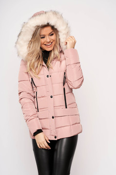 Lightpink jacket casual short cut from slicker detachable hood with pockets with furry hood