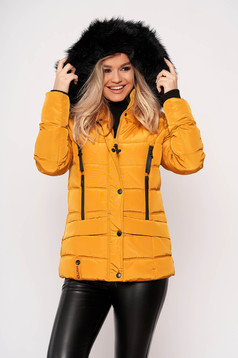 Mustard jacket casual short cut from slicker detachable hood with pockets with furry hood