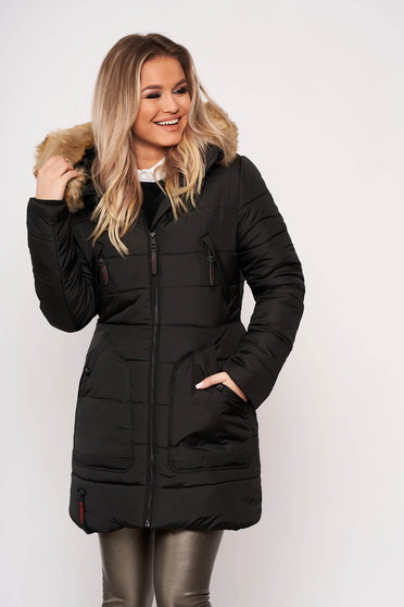 Jacket black casual midi from slicker with pockets detachable hood with furry hood long sleeve
