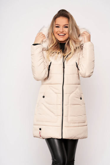 Jacket cream casual midi from slicker with pockets detachable hood with furry hood long sleeve
