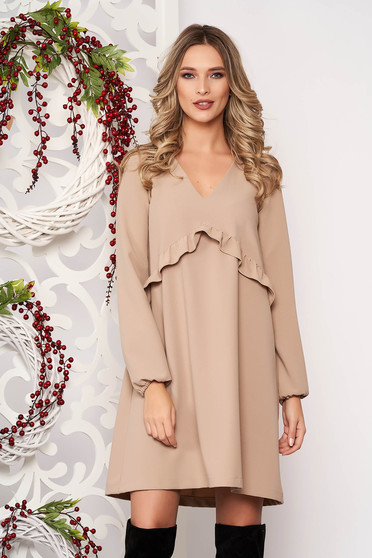 Dress StarShinerS cream midi flared with ruffles on the chest with v-neckline elastic held sleeves