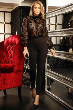 Trousers black elegant long conical cloth dots print