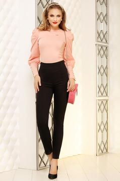 Trousers black elegant conical cloth dots print
