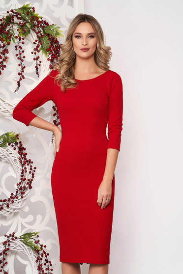 Dress StarShinerS red back zipper fastening with 3/4 sleeves slightly elastic fabric pencil midi