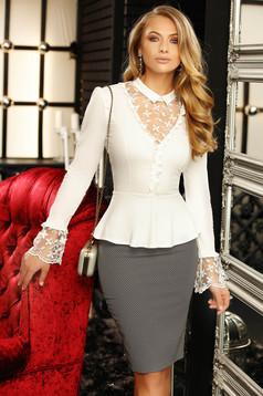 Women`s shirt white short cut long sleeved elegant