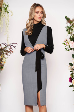 StarShinerS grey set elegant cloth 2 pieces jersey frontal slit with inside lining with v-neckline