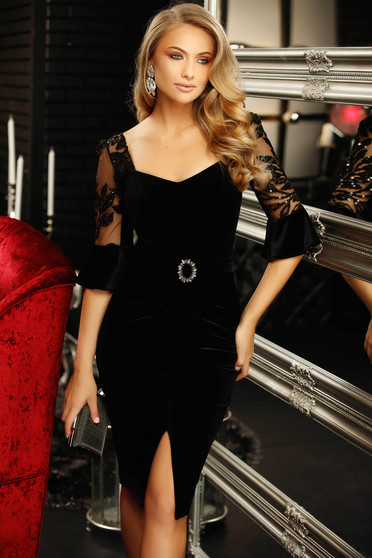 Dress black short cut occasional pencil frontal slit with 3/4 sleeves velvet