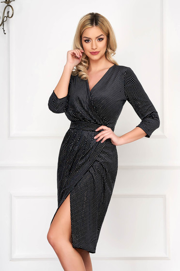 Dress StarShinerS black occasional pencil midi velvet with crystal embellished details with a cleavage