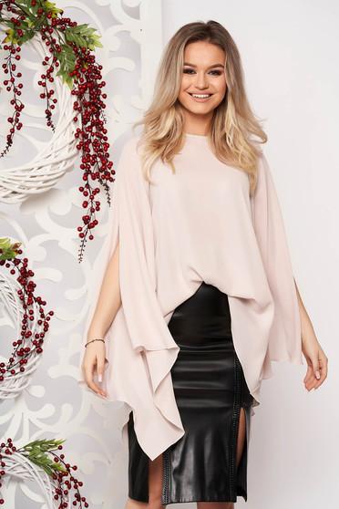 Women`s blouse StarShinerS cream flared elegant from veil asymmetrical