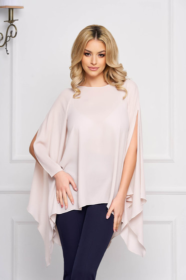 Women`s blouse StarShinerS cream flared elegant from veil asymmetrical