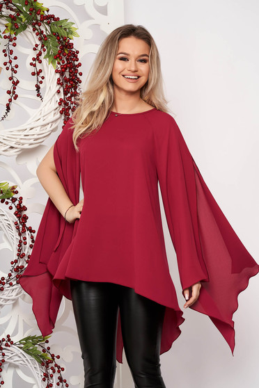 Women`s blouse StarShinerS burgundy flared elegant from veil asymmetrical