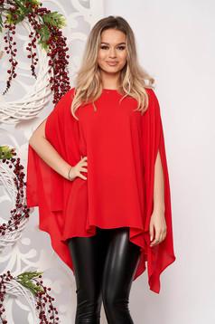 Women`s blouse StarShinerS red flared elegant from veil asymmetrical