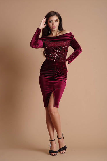 Burgundy dress occasional midi pencil velvet with sequin embellished details long sleeved naked shoulders without clothing