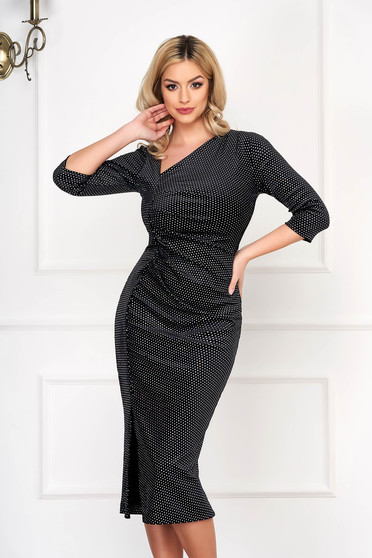 Dress StarShinerS black occasional midi pencil from velvet with crystal embellished details slit cowl neck
