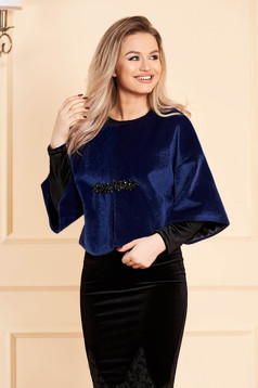 StarShinerS blue fur occasional with crystal embellished details from ecological fur with inside lining with 3/4 sleeves