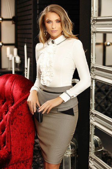 White women`s shirt with tented cut with ruffles on the chest office long sleeved