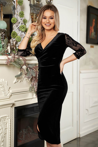 StarShinerS black dress from velvet v back neckline with laced sleeves with 3/4 sleeves pencil occasional
