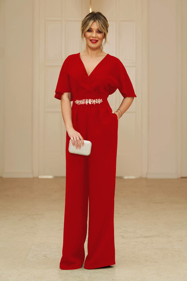 StarShinerS red occasional long jumpsuit short sleeve with v-neckline flaring cut with embellished accessories