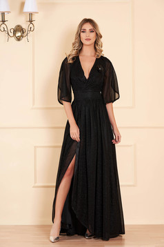 Dress black long occasional cloche shimmery metallic fabric with inside lining with v-neckline
