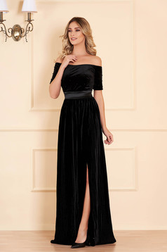 Dress black with pearls from velvet occasional cloche long