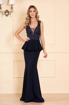 Dress darkblue with v-neckline with net accessory mermaid dress occasional peplum