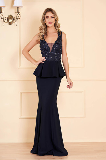 Dress darkblue with v-neckline with net accessory mermaid dress occasional peplum