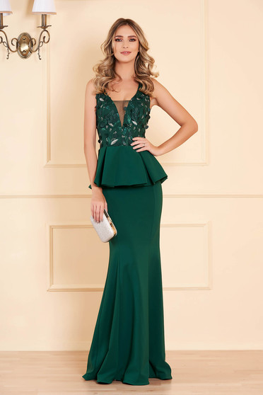 Dress green with v-neckline with net accessory mermaid dress occasional peplum