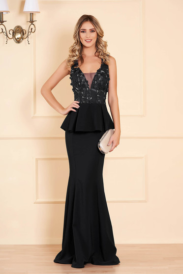 Dress black with v-neckline with net accessory mermaid dress occasional peplum