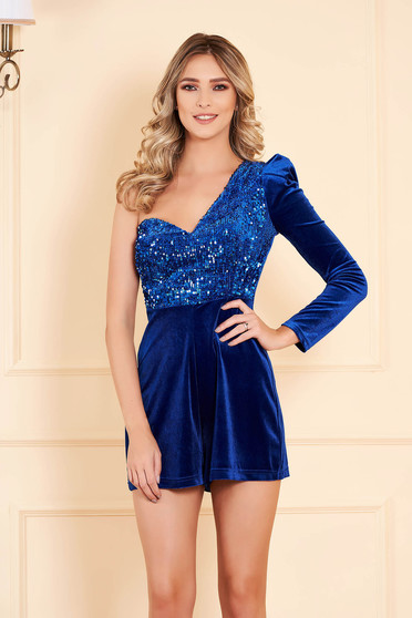 Jumpsuit blue one shoulder with sequin embellished details from velvet occasional short cut