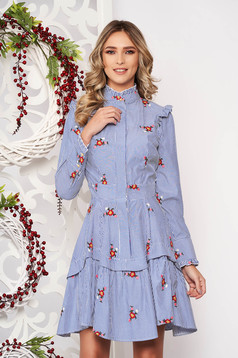 Dress blue with ruffle details asymmetrical flaring cut with floral prints high collar