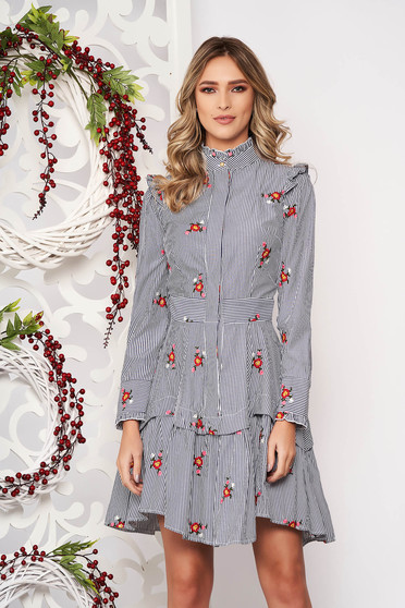 Dress grey with ruffle details asymmetrical flaring cut with floral prints high collar