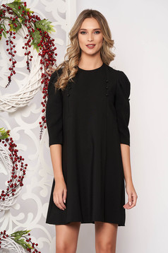Dress black daily flared with 3/4 sleeves slightly elastic fabric with button accessories