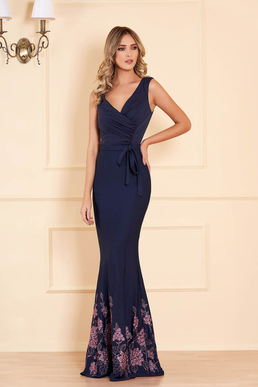 Dress darkblue occasional mermaid dress with floral prints with v-neckline accessorized with tied waistband
