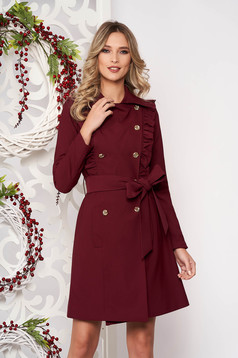 Trenchcoat burgundy long sleeved accessorized with tied waistband with pockets with ruffle details with button accessories slightly elastic fabric straight