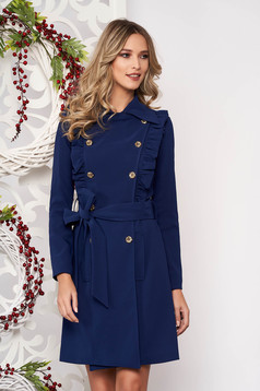 Trenchcoat blue long sleeved accessorized with tied waistband with pockets with ruffle details with button accessories slightly elastic fabric straight
