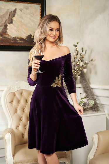 StarShinerS purple dress from velvet flaring cut naked shoulders occasional with sequin embellished details