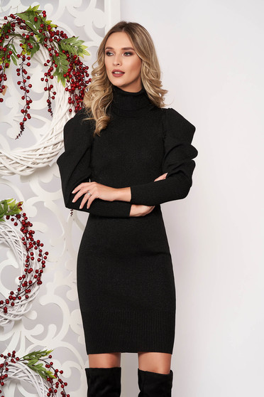 Black dress long sleeved knitted fabric high collar midi pencil