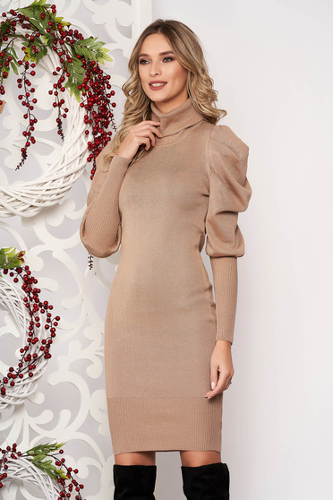 Cream dress long sleeved knitted fabric high collar midi pencil