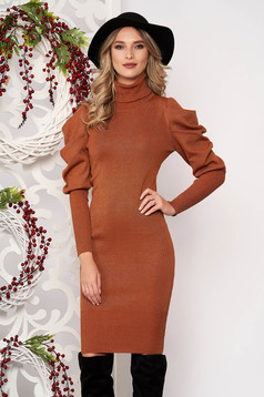Bricky dress long sleeved knitted fabric high collar midi pencil