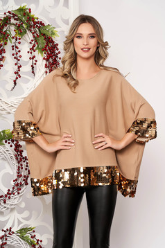 Cappuccino women`s blouse with sequin embellished details short sleeves from elastic fabric with easy cut thin fabric short cut