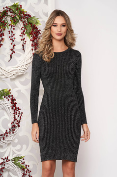 Dress silver long sleeved slightly elastic cotton pencil midi